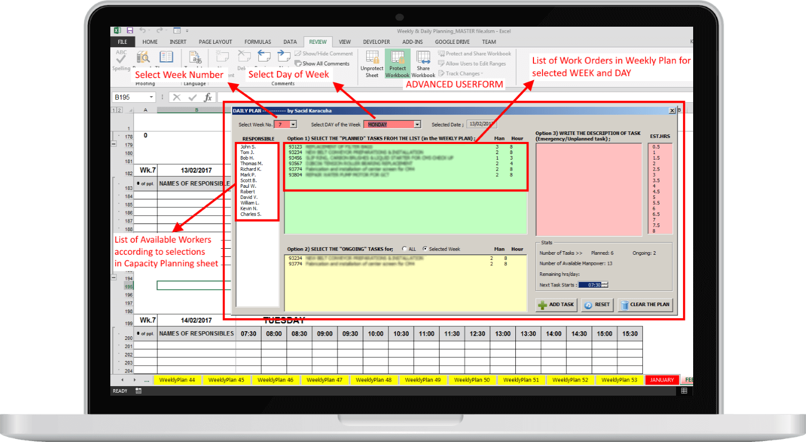 maintenance planning and scheduling excel template